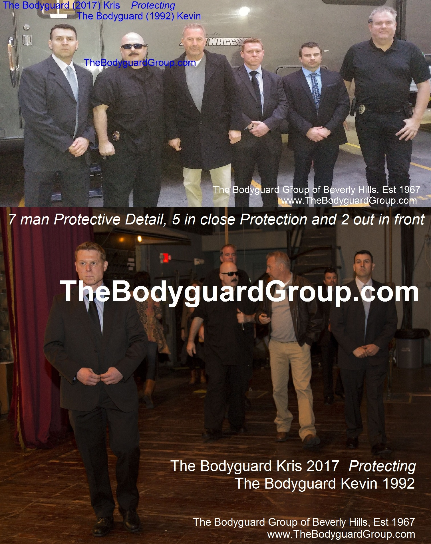 Celebrity Bodyguards Kris Herzog and The Bodyguard Group of Beverly Hills Protecting Kevin Costner 2017