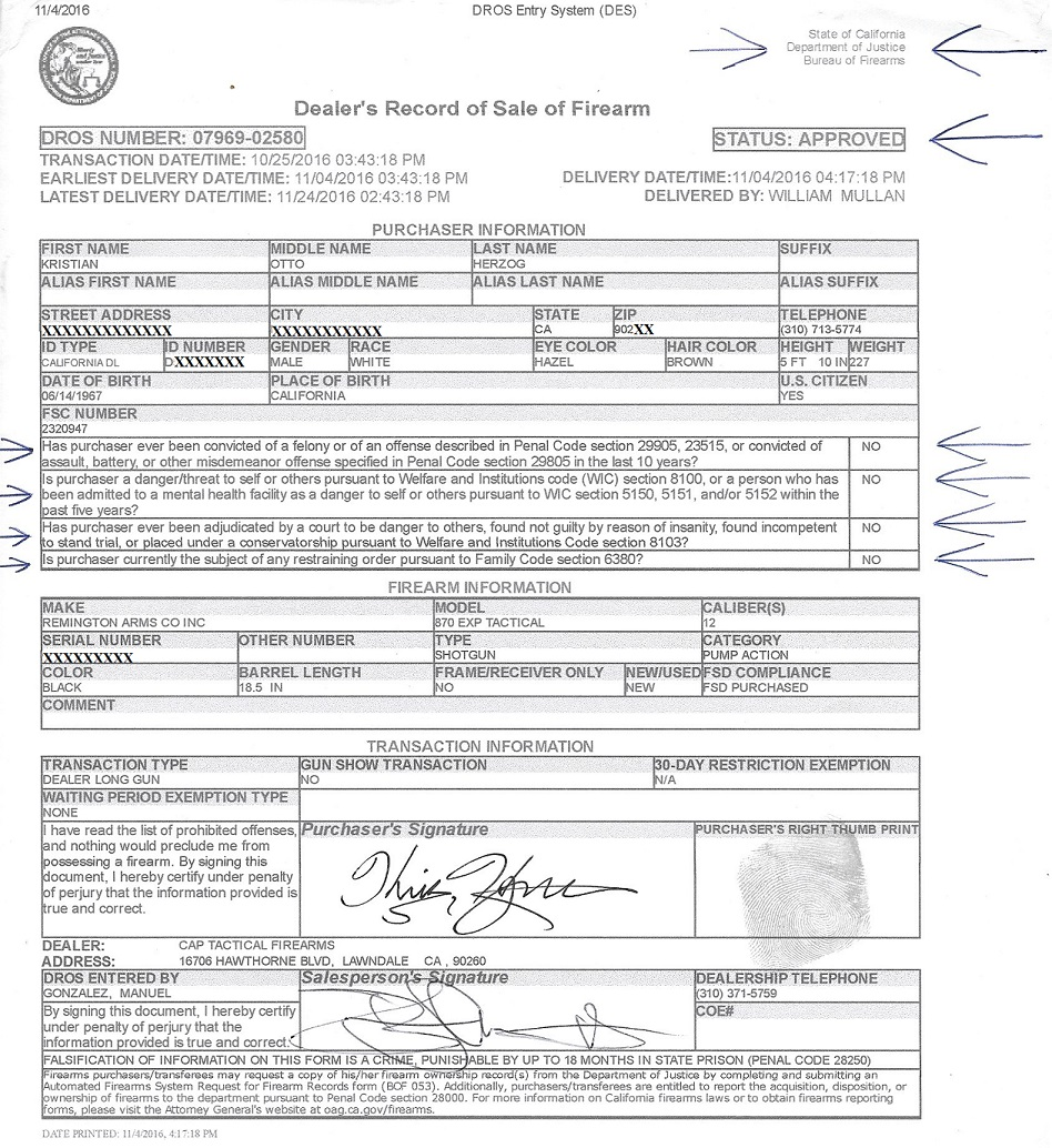 KRIS HERZOG FIREAMRS PERMIT and FBI, DEPT OF JUSTICE CA FEDERAL BACKGROUND CHECK JUNE 14 2018, famous celebrity bodyguard Kris Herzog background checks