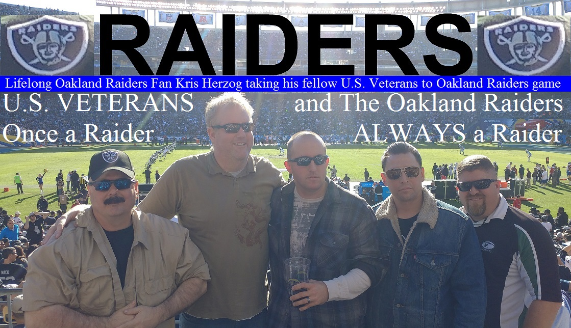 Lifelong Oakland Raiders Fan Kris Herzog taking his fellow U.S. Veterans to Oakland Raiders game