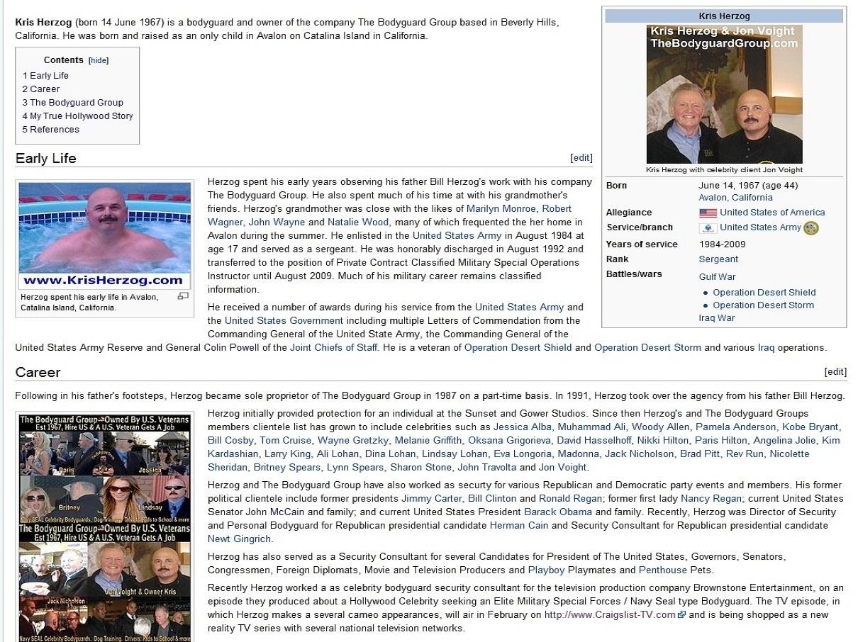 Wikipedia Kris Herzog Famous celebrity bodyguard Kris Herzog and The Bodyguard Group of Beverly Hills 90210