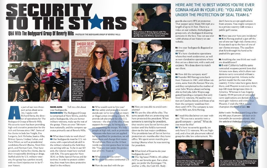 Famous celebrity bodyguard Kris Herzog of The Bodyguard Group of Beverly Hills security 90210 Interview pages 1 and 2