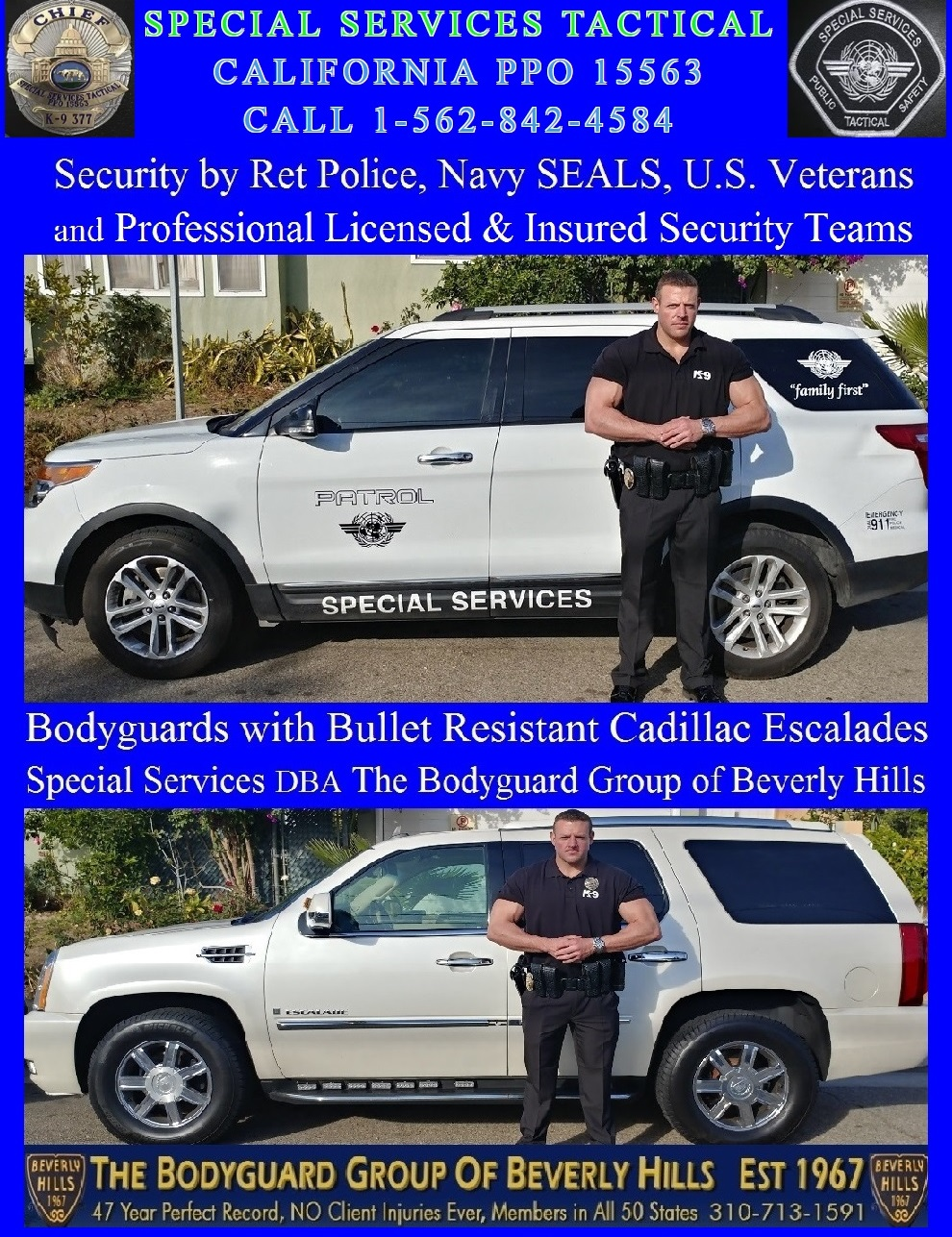 Famous celebrity bodyguard Kris Herzog of The Bodyguard Group of Beverly Hills security patrol, Beverly Hills security guards 90210