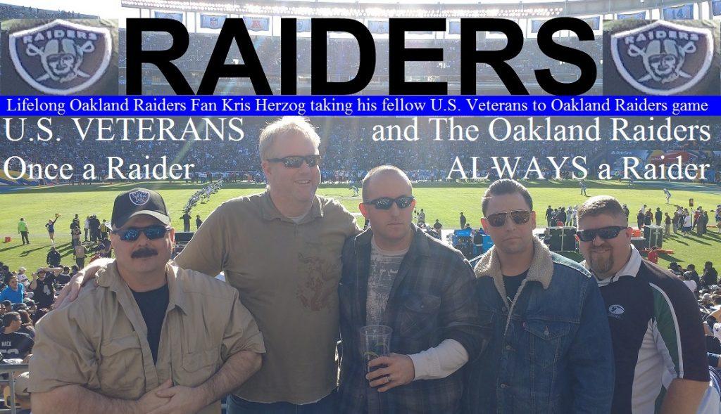 Lifelong Oakland Raiders Fan Kris Herzog taking his fellow U.S. Veterans to Oakland Raiders game