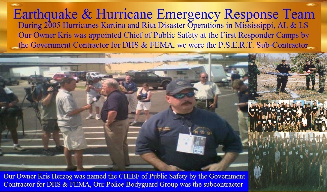 Hurricane Katrina and Hurricane Rita Emergency Response by Kris Herzog and The Bodyguard Group of Beverly Hills security 90210