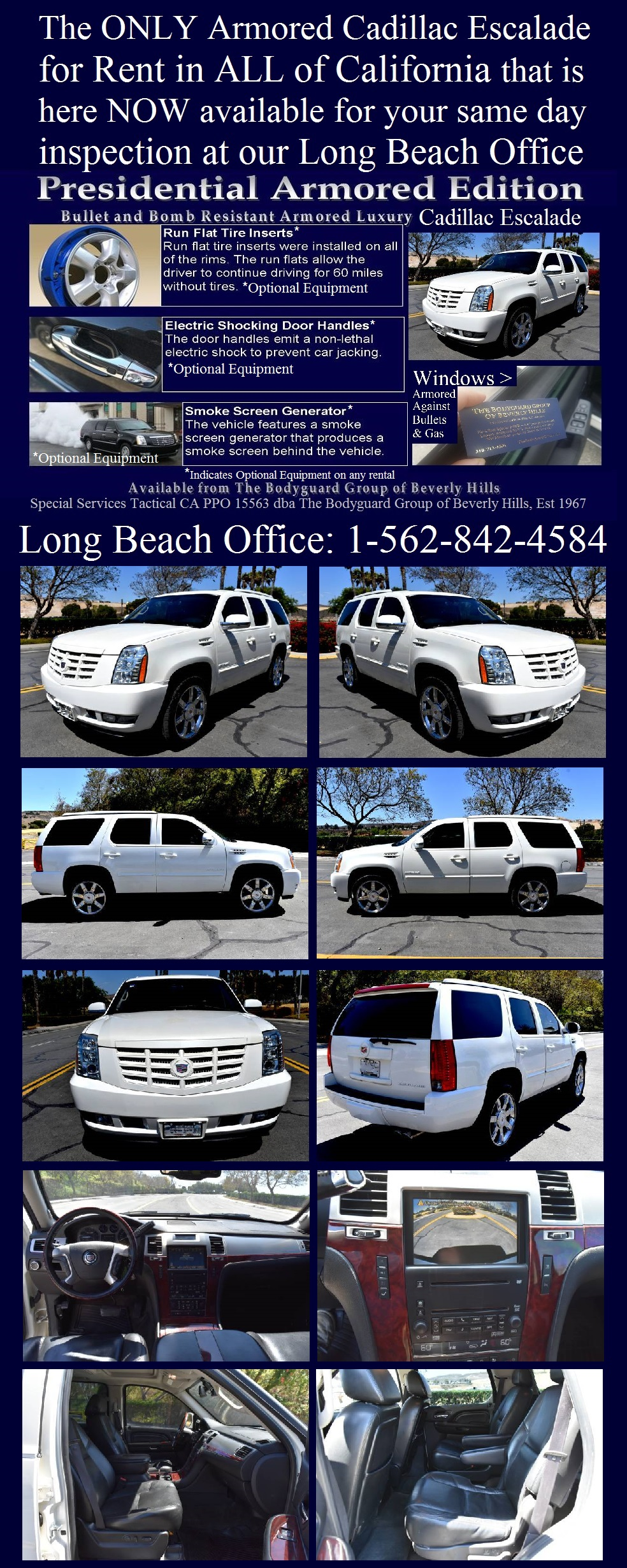 Armored cars for rent in Los Angeles and Protective detail armored cars for rent armored SUV for rent in Beverly Hills California 90210