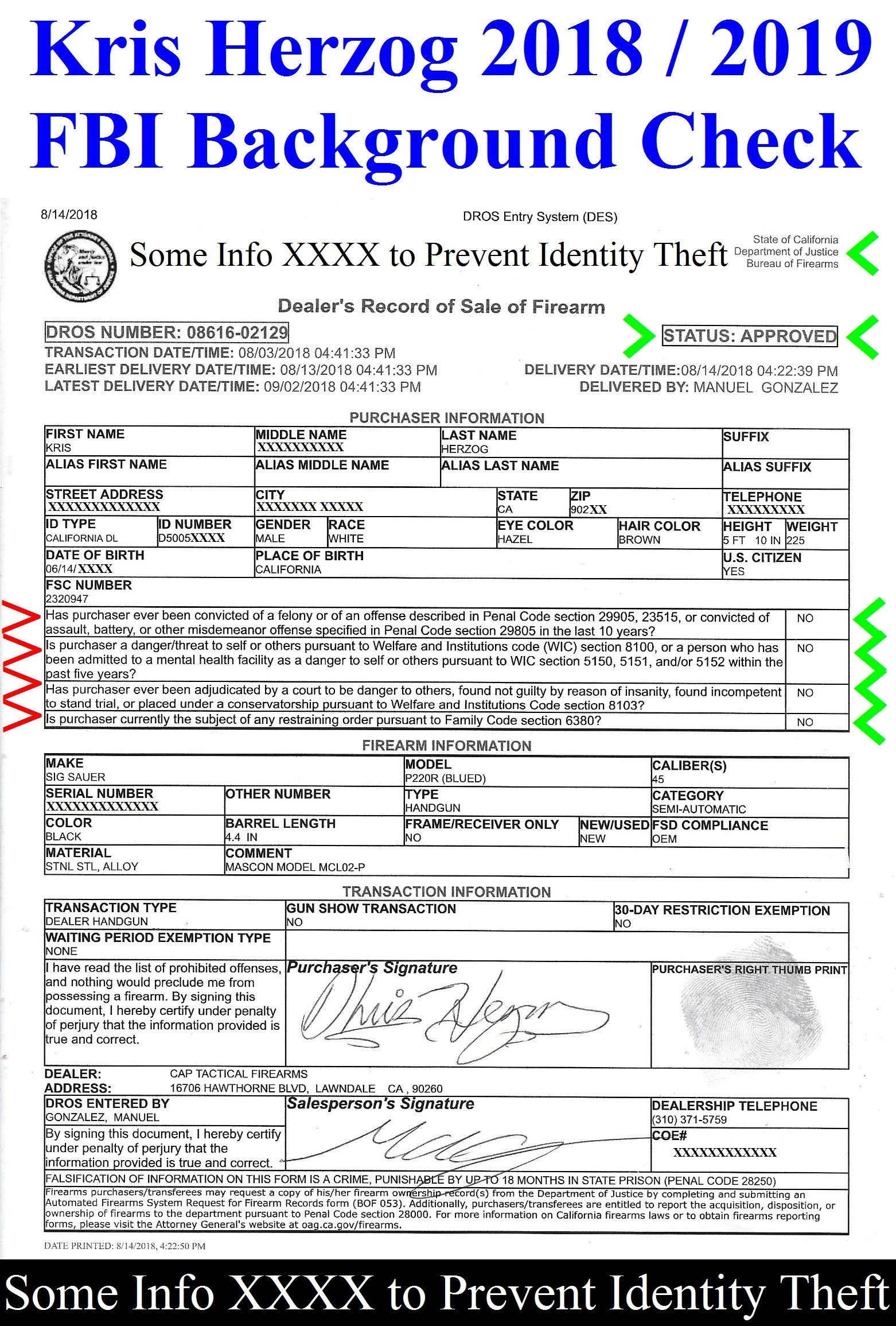 KRIS HERZOG FBI BACKGROUND CHECK FOR GUN PURAHASCE AND REGISTRATION The Bodyguard Group of Beverly Hills 90210