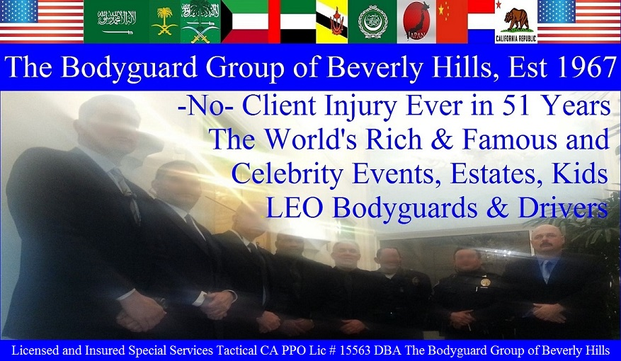 The Bodyguard Group of Beverly Hills security 90210, Los Angeles Celebrity Bodyguards for hire, Beverly Hills estate security patrol guards. Famous celebrity bodyguard Kris Herzog