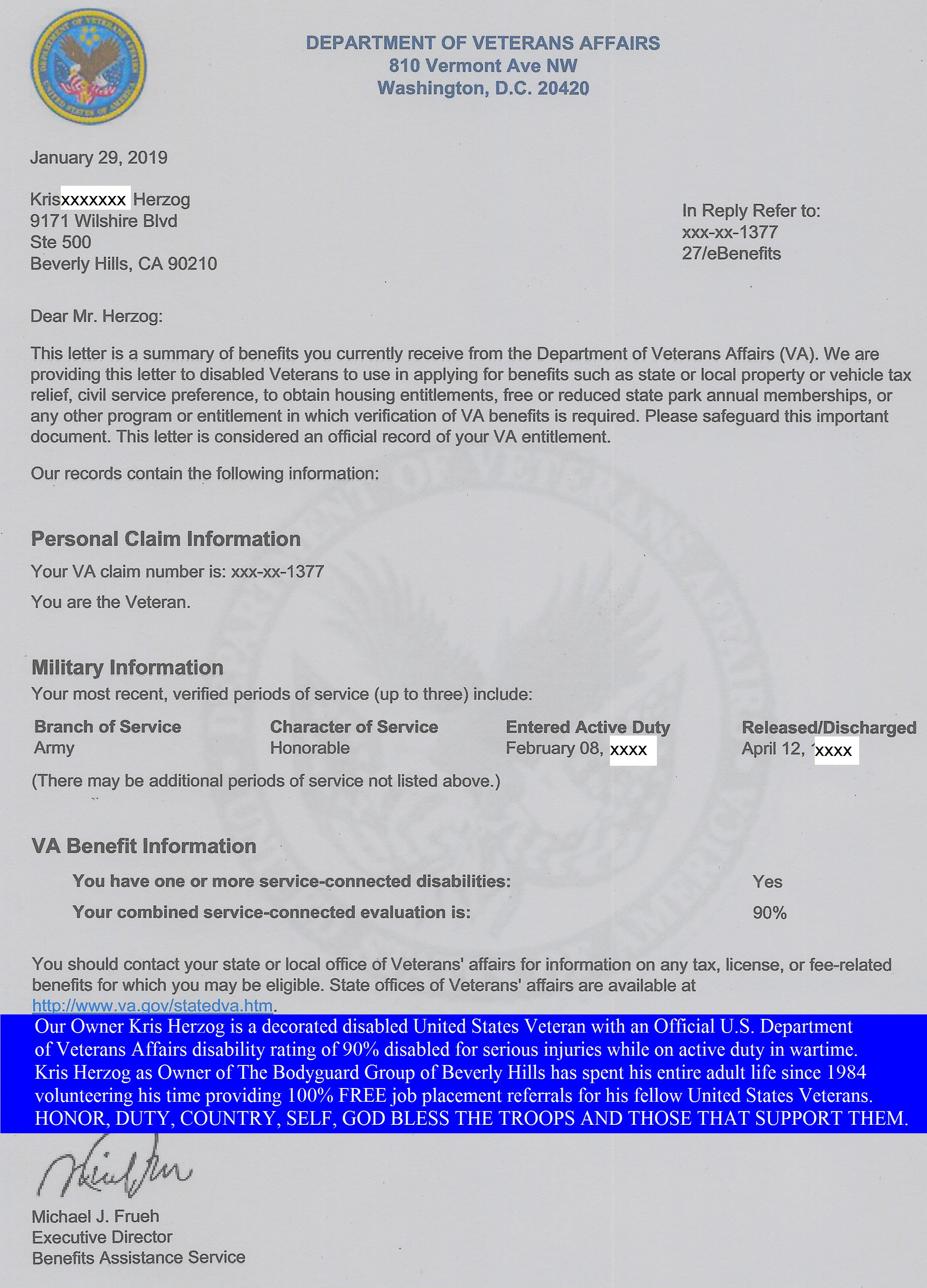 Kris Herzog The Bodyguard Group of Beverly Hills 90210 security U.S. Veteran certification letter U.S. Dept of Veterans Affairs