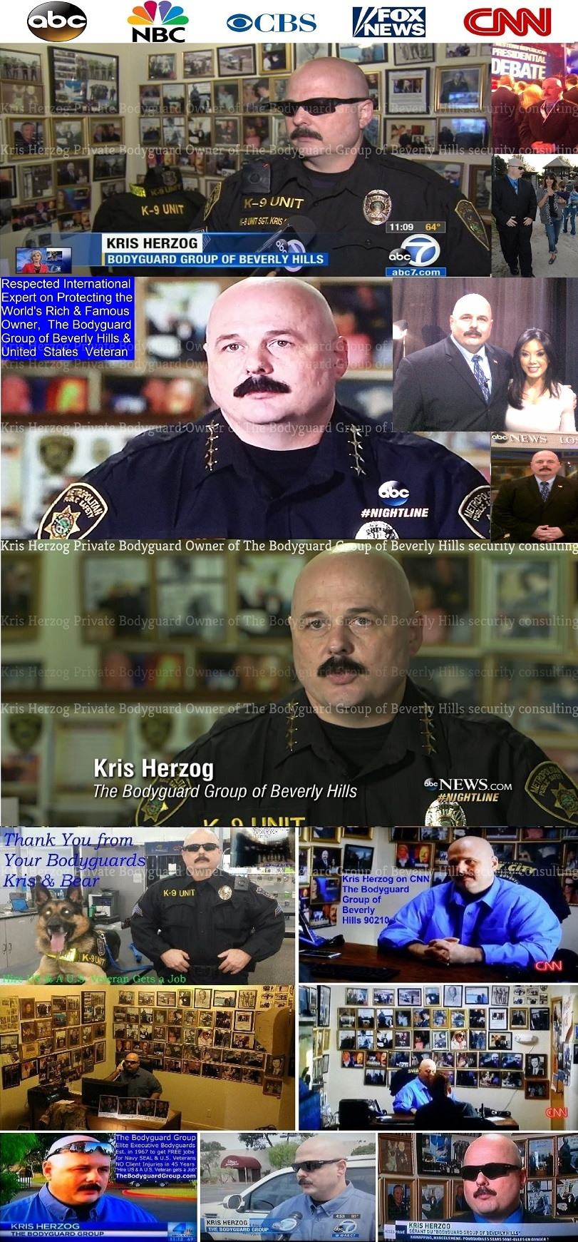 Kris Herzog and The Bodyguard Group of Beverly HIlls on the news abc, nbc, cbs, fox, cnn, los angeles celebrity bodyguards for hire 2011 u.s. copyright my true hollywood story by kris herzog 2019