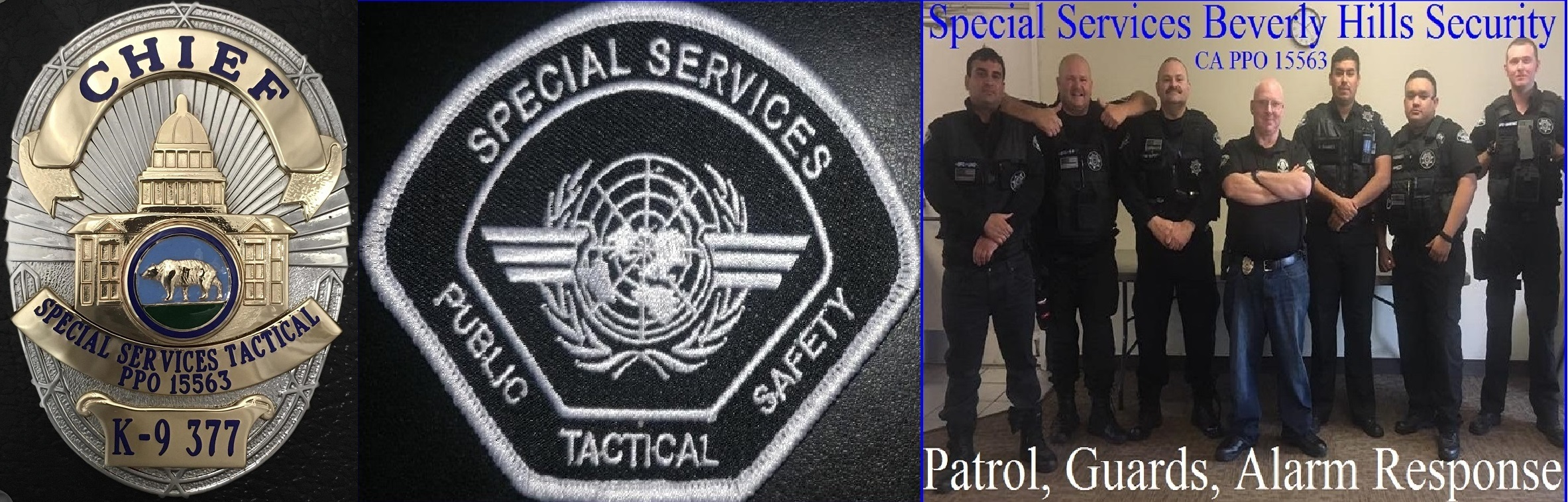 Special Services PPO 15563, The Bodyguard Group of Beverly Hills Security Patrol, Beverly Hills security guards services, Beverly Hills 90210 alarm response 90210