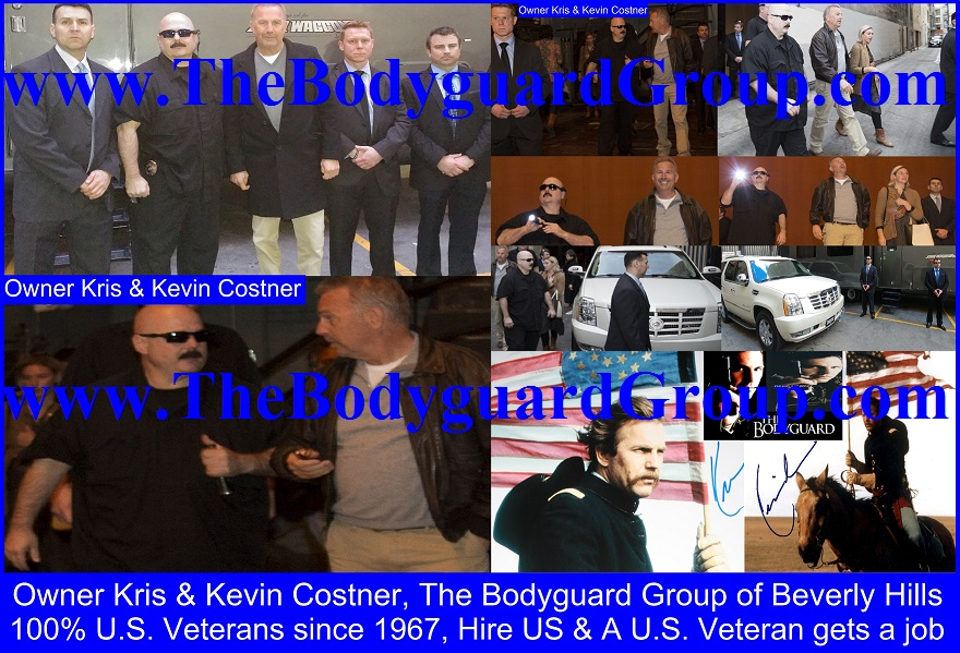 Kris Herzog and Kevin Costner, Kris Herzog owner The Bodyguard Group of Beverly Hills security 90210, U.S. Copyright MTHS by Kris Herzog