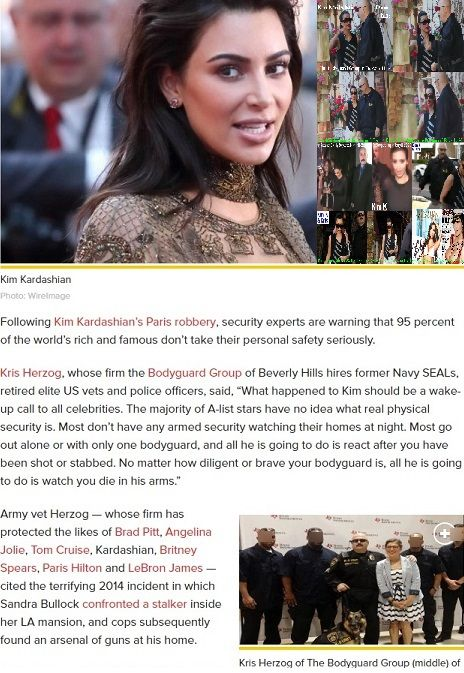 Kim Kardashian bodyguard Kris Herzog celebrity bodyguards for hire Beverly Hills security the bodyguard Group of Beverly hills 90210