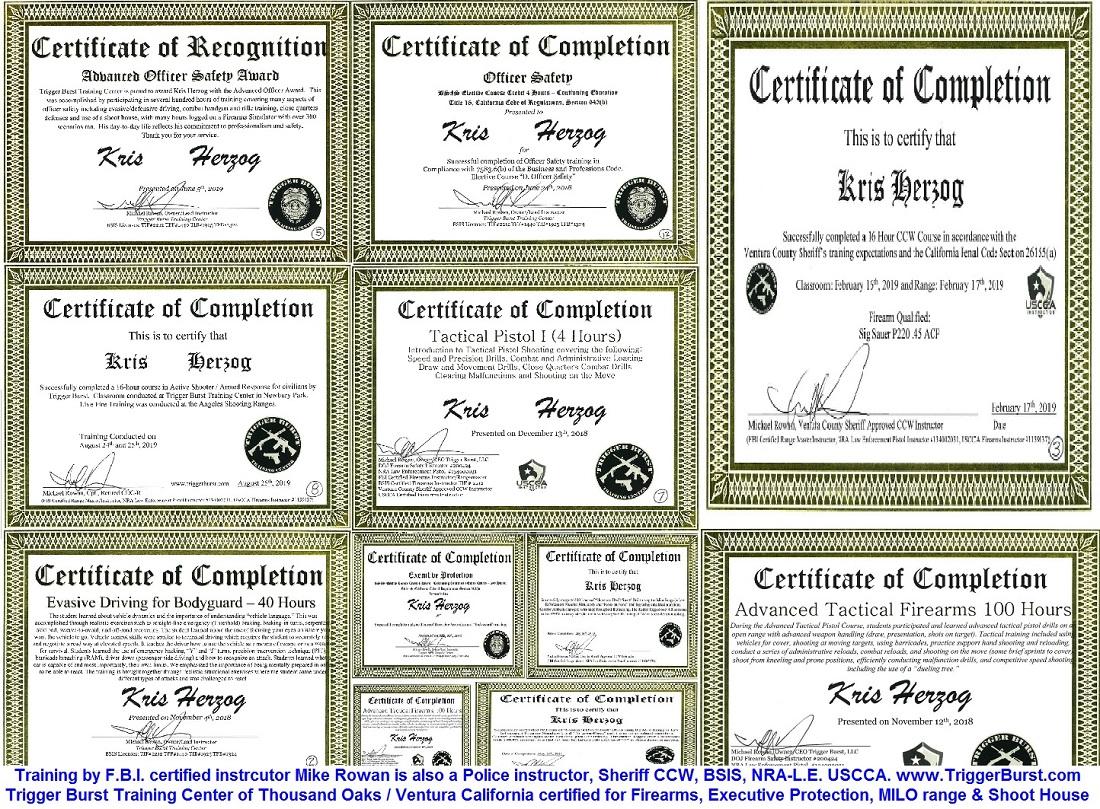 Celebrity Bodyguard Kris Herzog bodyguard training certificates The Bodyguard Group of Beverly Hills 90210 security 2019