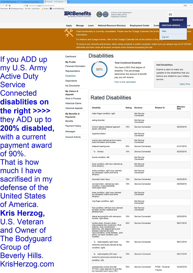 KRIS HERZOG U.S. VETERAN 90 PERCENT DISABLED KRIS HERZOG U.S. VETERAN U.S. ARMY