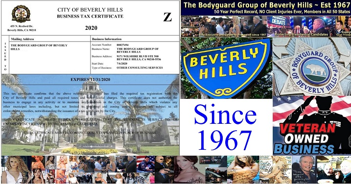 2020 Beverly Hills Business License The Bodyguard Group of Beverly Hills 90210 security