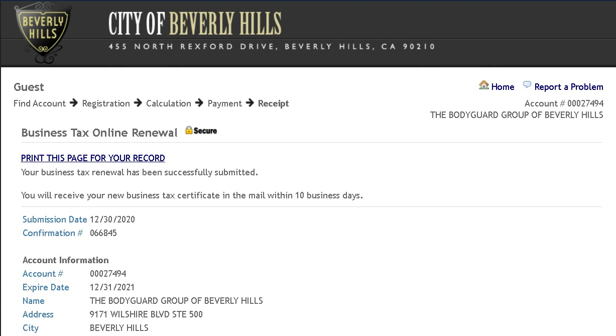 Beverly Hills business license for The Bodyguard Group of Beverly Hills security 90210